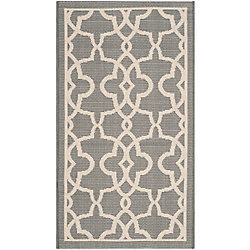 Safavieh Courtyard Jane Grey / Beige 2 ft. x 3 ft. 7 inch Indoor/Outdoor Area Rug