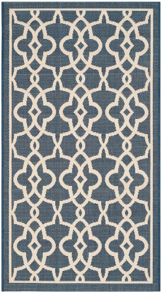 Courtyard Blue 2 ft. 7-inch x 5 ft. Indoor/Outdoor Rectangular Area Rug - CY6071-268-3