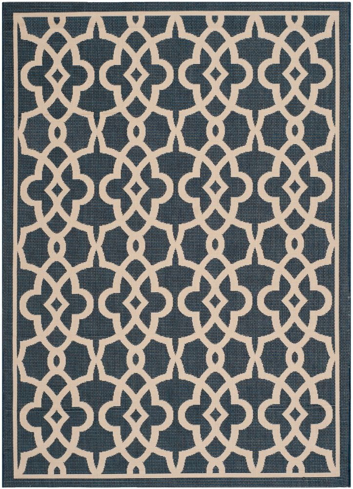 Safavieh Courtyard Jane Navy / Beige 8 ft. x 11 ft. Indoor/Outdoor Area Rug