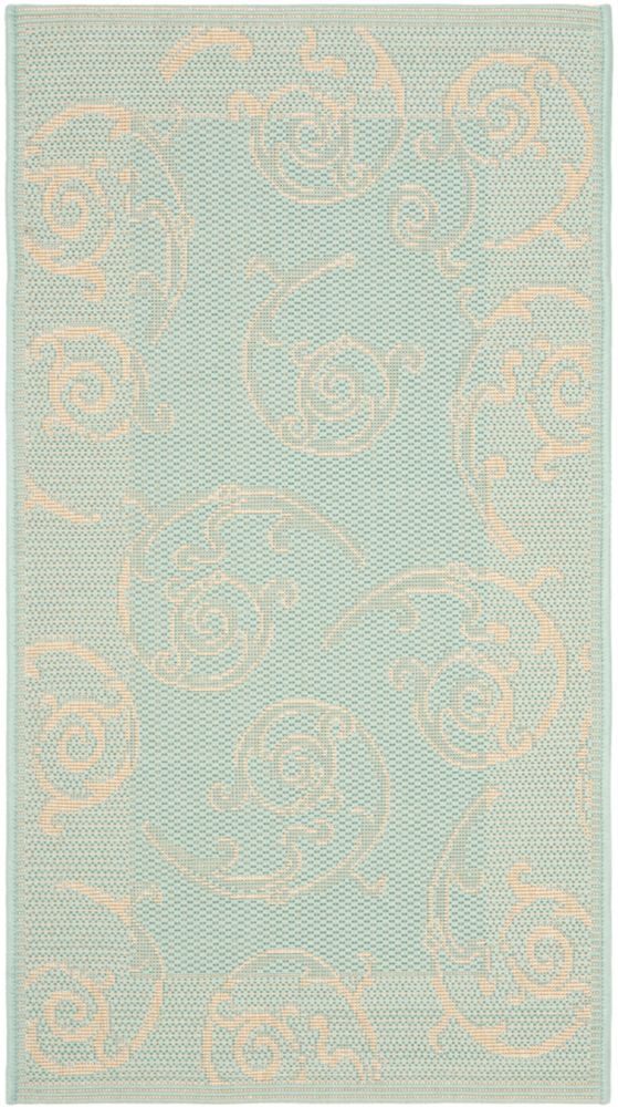 Safavieh Courtyard Jaden Aqua / Cream 2 ft. x 3 ft. 7 inch Indoor/Outdoor Area Rug