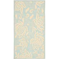 Safavieh Courtyard Gaia Aqua / Cream 4 ft. x 5 ft. 7 inch Indoor/Outdoor Area Rug