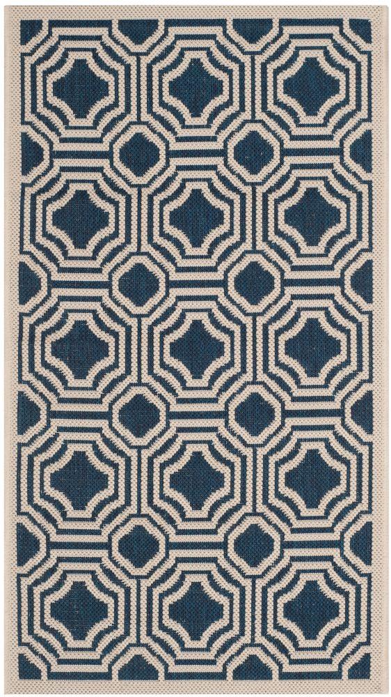 Courtyard Blue 2 ft. 7-inch x 5 ft. Indoor/Outdoor Rectangular Area Rug - CY6112-268-3