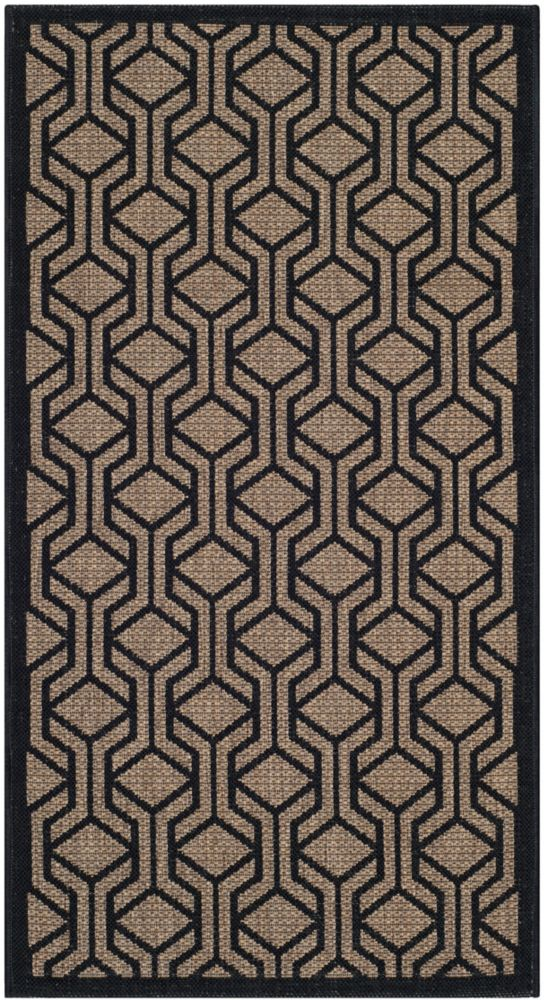 Courtyard Gail Brown / Black 2 ft. 7 inch x 5 ft. Indoor/Outdoor Area Rug