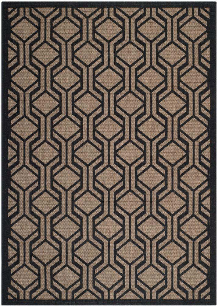 Safavieh Courtyard Gail Brown / Black 5 ft. 3 inch x 7 ft. 7 inch Indoor/Outdoor Area Rug
