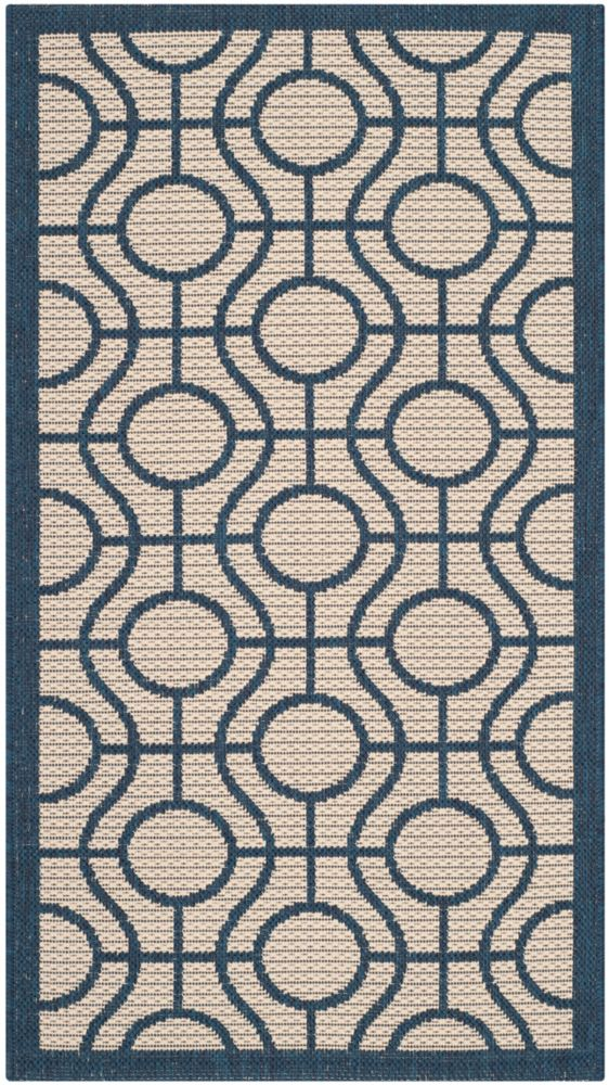 Safavieh Courtyard Ira Beige / Navy 2 ft. x 3 ft. 7 inch Indoor/Outdoor Area Rug