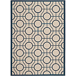 Safavieh Courtyard Ira Beige / Navy 6 ft. 7 inch x 9 ft. 6 inch Indoor/Outdoor Area Rug