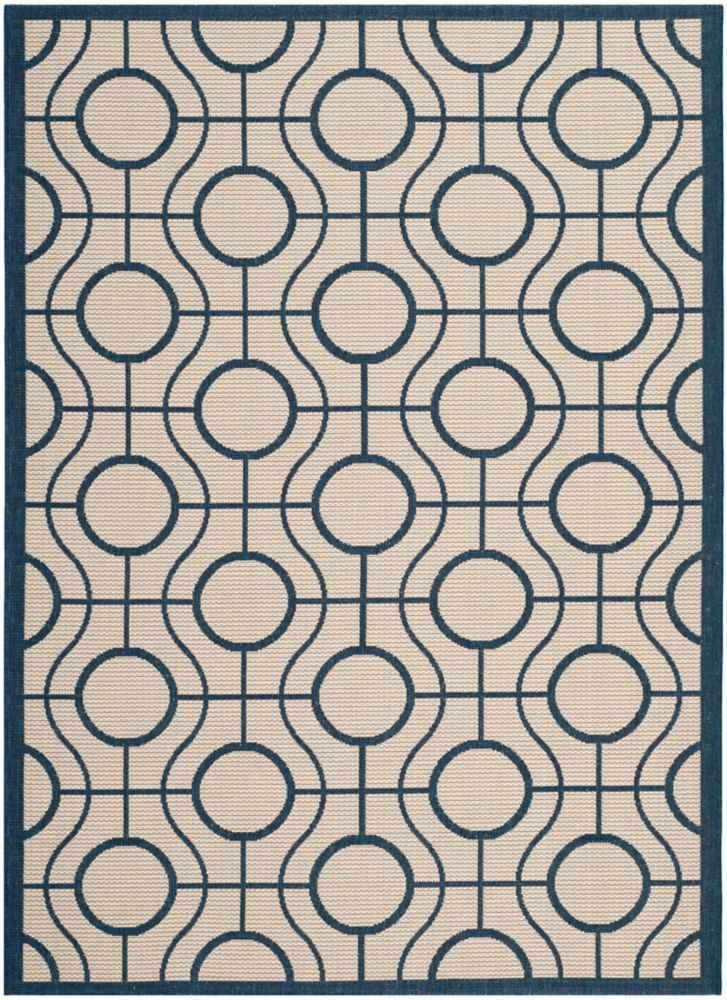 Courtyard Ira Beige / Navy 6 ft. 7 inch x 9 ft. 6 inch Indoor/Outdoor Area Rug