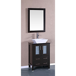 Bosconi 23.60-inch W 2-Drawer 2-Door Freestanding Vanity With Top in Black With Faucet And Mirror