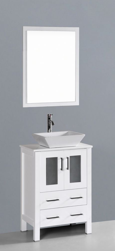 Bosconi Bosconi 23.60-inch W 2-Drawer 2-Door Vanity in White With Artificial Stone Top in White