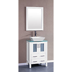 Bosconi 23.60-inch W 2-Drawer 2-Door Vanity in White With Top in White With Faucet And Mirror
