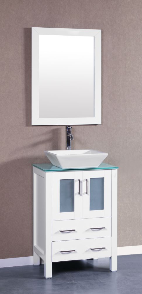 Bosconi Bosconi 23.60-inch W 2-Drawer 2-Door Vanity in White With Top in White With Faucet And Mirror