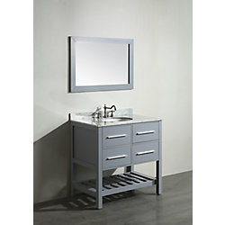 Bosconi 35.50-inch W 2-Drawer Freestanding Vanity in Grey With Marble Top in White With Mirror