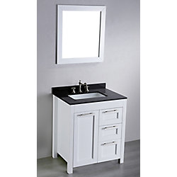 Bosconi 30-inch W 2-Drawer 1-Door Freestanding Vanity in White With Granite Top in Black With Mirror