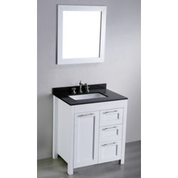 Bosconi Bosconi 30-inch W 2-Drawer 1-Door Freestanding Vanity in White With Granite Top in Black With Mirror