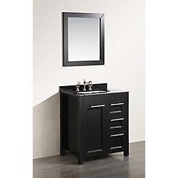 Bosconi 30-inch W 2-Drawer 1-Door Freestanding Vanity in Black With Granite Top in Black With Mirror