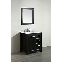 Bosconi 30-inch W 2-Drawer 1-Door Freestanding Vanity in Black With Marble Top in White With Mirror