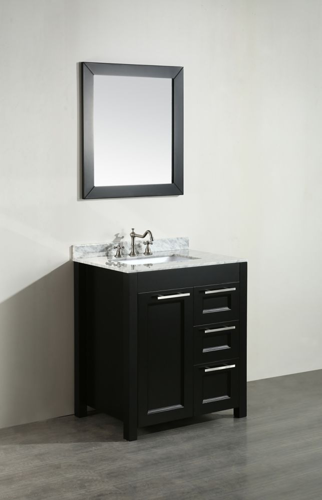 Bosconi Bosconi 30-inch W 2-Drawer 1-Door Freestanding Vanity in Black With Marble Top in White With Mirror