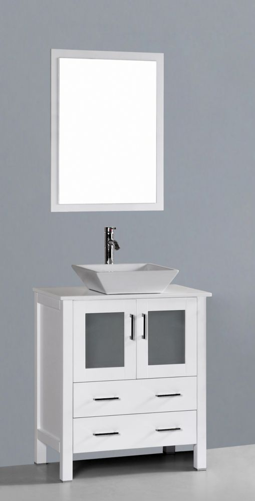Bosconi Bosconi 29.60-inch W 2-Drawer 2-Door Vanity in White With Artificial Stone Top in White