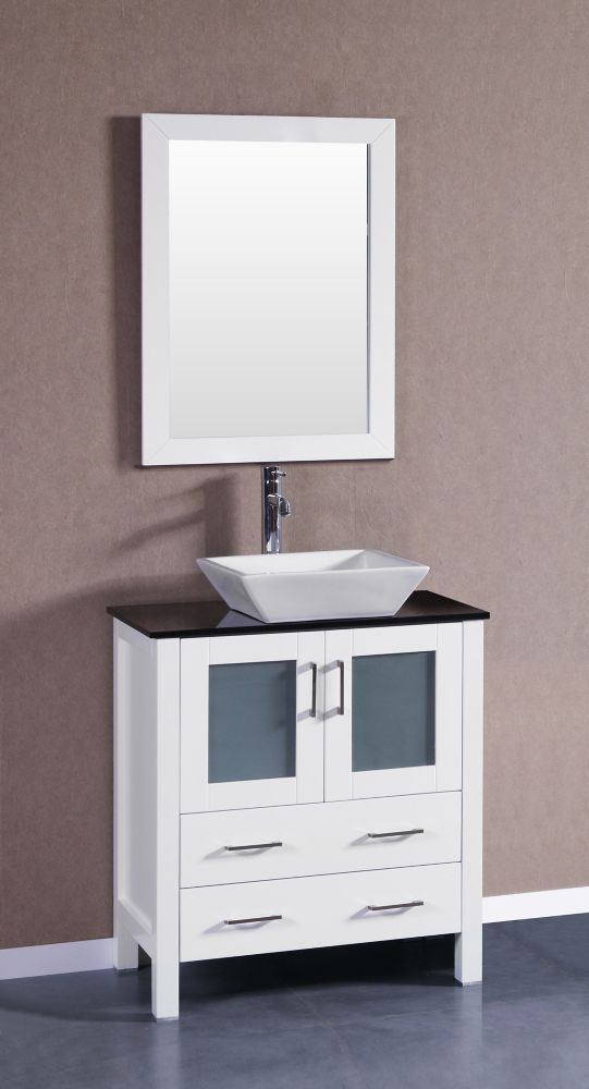 Bosconi Bosconi 29.60-inch W 2-Drawer 2-Door Vanity in White With Top in Black With Faucet And Mirror