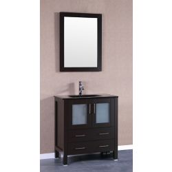 Bosconi 29.60-inch W 2-Drawer 2-Door Freestanding Vanity With Top in Black With Faucet And Mirror