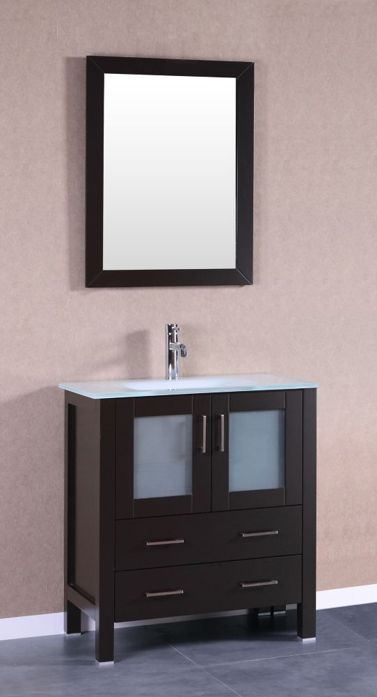 Bosconi Bosconi 29.60-inch W 2-Drawer 2-Door Freestanding Vanity With Top in White With Faucet And Mirror