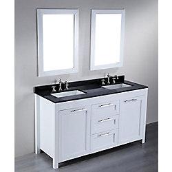 Bosconi 60.20-inch W 3-Drawer 2-Door Vanity in Black With Granite Top in Black, Double Basins