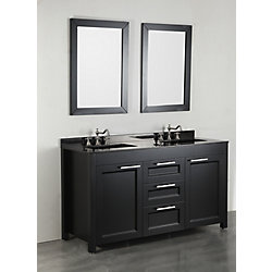 Bosconi 60.20-inch W 3-Drawer 2-Door Vanity in Black With Marble Top in Black, Double Basins