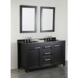 Bosconi 60.20-inch W 3-Drawer 2-Door Vanity in Black With Marble Top in Black, Double Basins