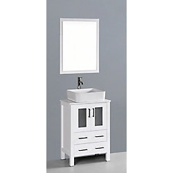 Bosconi 23.60-inch W 2-Drawer 2-Door Vanity in White With Artificial Stone Top in White