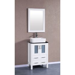 Bosconi Bosconi 23.60-inch W 2-Drawer 2-Door Vanity in White With Top in Black With Faucet And Mirror