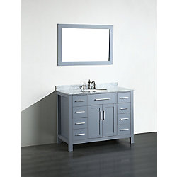 Bosconi 43.30-inch W 8-Drawer 2-Door Vanity in Grey With Marble Top in White With Mirror