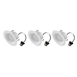 Ecosmart 4-inch 65W Equivalent Soft White (2700K) Integrated LED Recessed Trim Light (3-Pack) - ENERGY STAR
