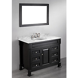 Bosconi 43.30-inch W 6-Drawer 1-Door Vanity in Black With Marble Top in White With Mirror