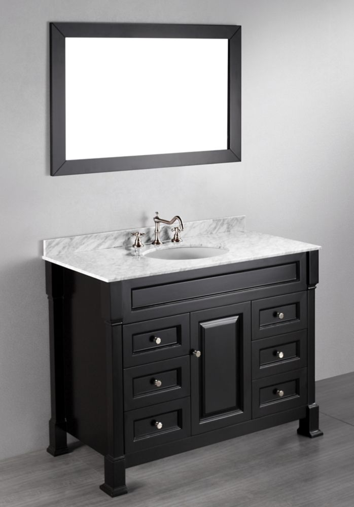Bosconi Bosconi 43.30-inch W 6-Drawer 1-Door Vanity in Black With Marble Top in White With Mirror