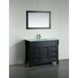 Bosconi 43.30-inch W 6-Drawer 1-Door Freestanding Vanity in Black With Top in White With Mirror