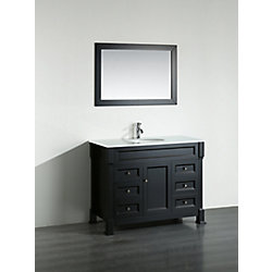 Bosconi 43.30-inch W 6-Drawer 1-Door Vanity in Black With Artificial Stone Top in White With Mirror
