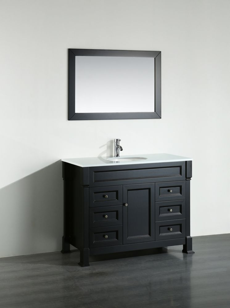 Bosconi Bosconi 43.30-inch W 6-Drawer 1-Door Vanity in Black With Artificial Stone Top in White With Mirror