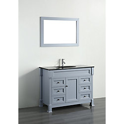 Bosconi 43.30-inch W 6-Drawer 1-Door Freestanding Vanity in Grey With Top in Black With Mirror