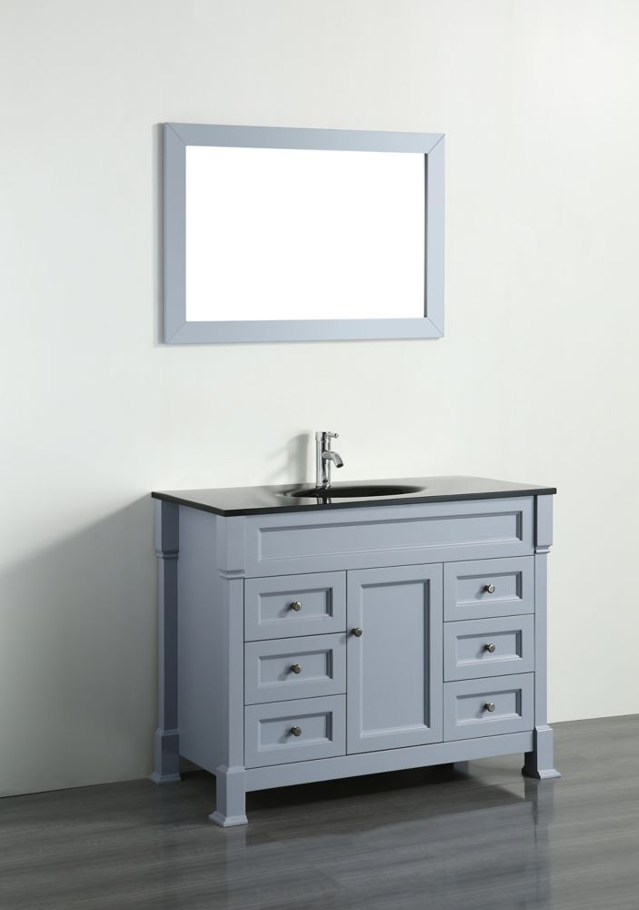 Bosconi Bosconi 43.30-inch W 6-Drawer 1-Door Freestanding Vanity in Grey With Top in Black With Mirror
