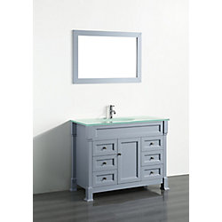 Bosconi 43.30-inch W 6-Drawer 1-Door Freestanding Vanity in Grey With Top in White With Mirror