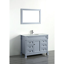 Bosconi 43.30-inch W 6-Drawer 1-Door Vanity in Grey With Artificial Stone Top in White With Mirror