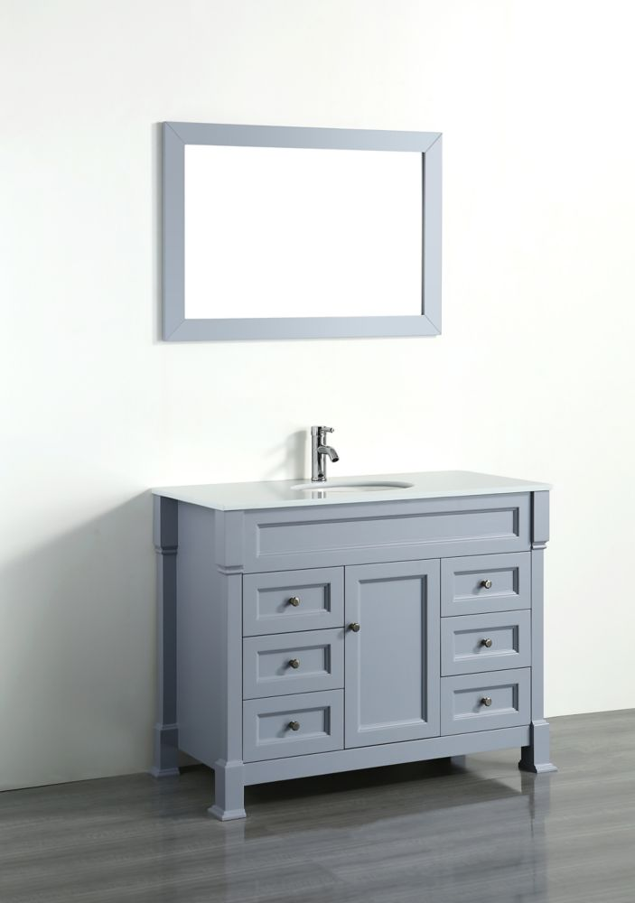 Bosconi Bosconi 43.30-inch W 6-Drawer 1-Door Vanity in Grey With Artificial Stone Top in White With Mirror