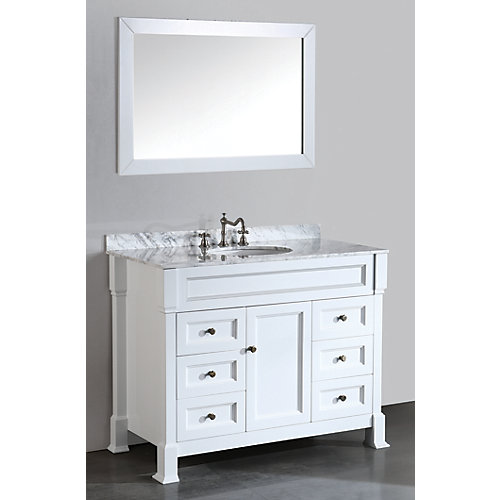 43.30-inch W 6-Drawer 1-Door Vanity in White With Marble Top in White With Mirror