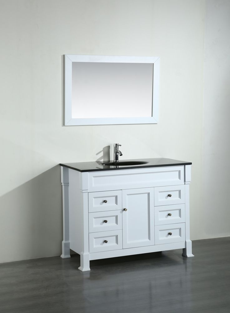 Bosconi Bosconi 43.30-inch W 6-Drawer 1-Door Freestanding Vanity in White With Top in Black With Mirror