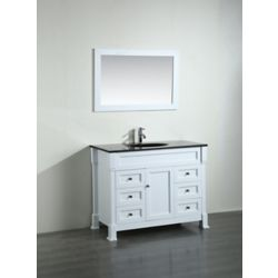Bosconi 43.30-inch W 6-Drawer 1-Door Freestanding Vanity in White With Top in Black With Mirror