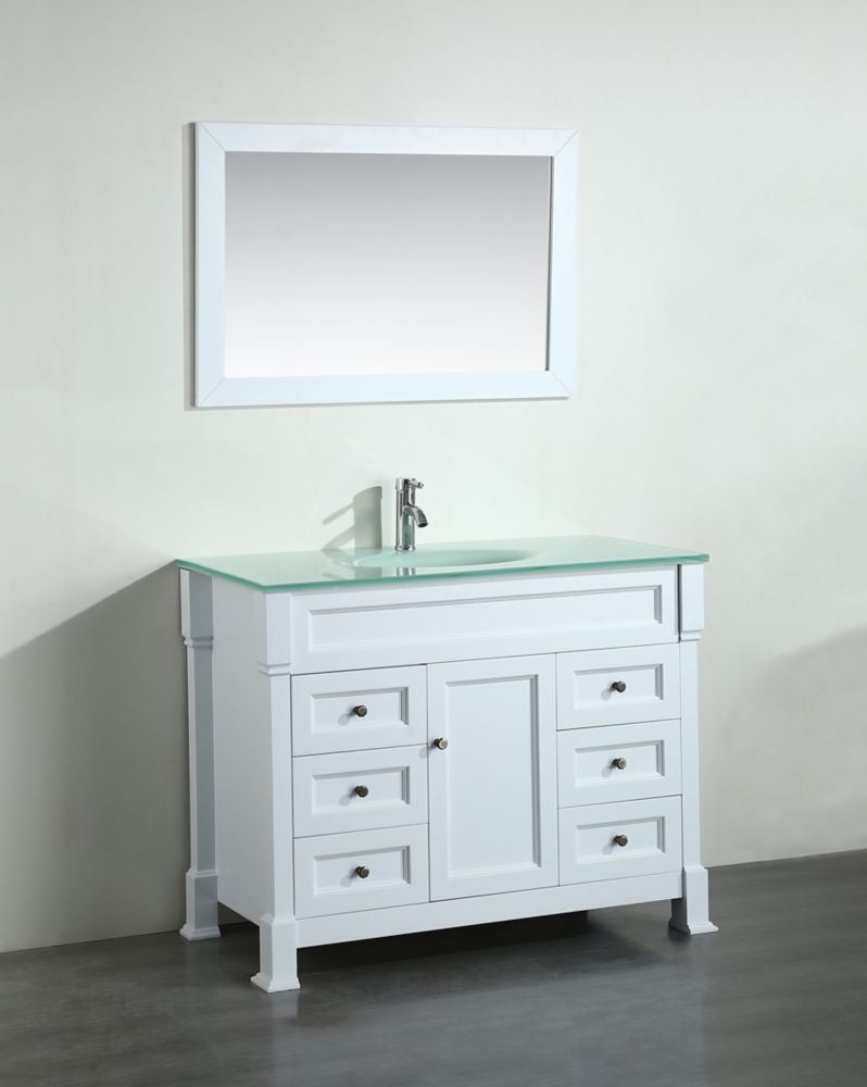 Bosconi Bosconi 43.30-inch W 6-Drawer 1-Door Freestanding Vanity in White With Top in White With Mirror