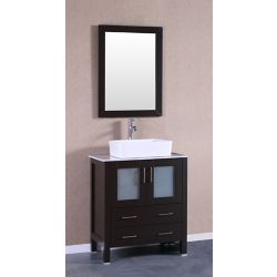 Bosconi 29.60-inch W 2-Drawer 2-Door Vanity With Marble Top in White With Faucet And Mirror
