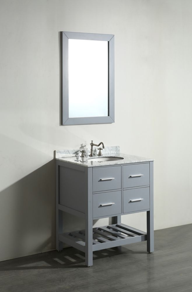 Bosconi Bosconi 29.60-inch W 2-Drawer Freestanding Vanity in Grey With Marble Top in White With Mirror