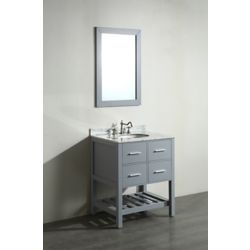 Bosconi 29.60-inch W 2-Drawer Freestanding Vanity in Grey With Marble Top in White With Mirror