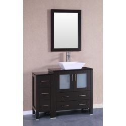 Bosconi 41.80-inch W 5-Drawer 2-Door Freestanding Vanity With Top in Black With Faucet And Mirror